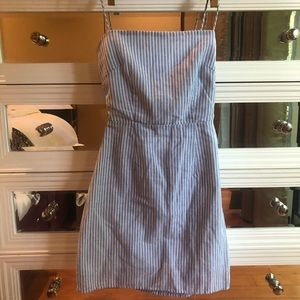 pinstripe dress and open back tie